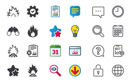 Fire flame icons. Heat symbols. Inflammable signs. Chat, Report and Calendar signs. Stars, Statistics and Download icons. Question, Clock and Globe. Vector Ilustração