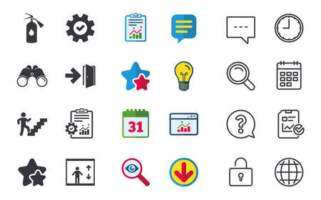 Emergency exit icons. Fire extinguisher sign. Elevator or lift symbol. Fire exit through the stairwell. Chat, Report and Calendar signs. Stars, Statistics and Download icons. Question, Clock and Globe