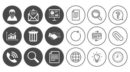 Office, documents and business icons. Businessman, handshake and call signs. Chart, presentation and mail symbols. Document, Globe and Clock line signs. Lamp, Magnifier and Paper clip icons. Vector