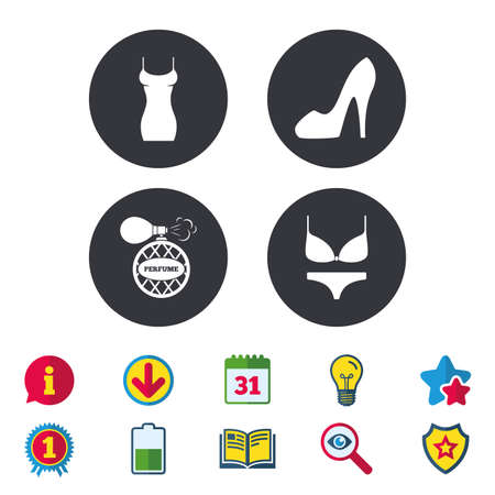 Women dress icon. Sexy shoe sign. Perfume glamour fragrance symbol. Intimates underwear. Calendar, Information and Download signs. Stars, Award and Book icons. Light bulb, Shield and Search. Vector