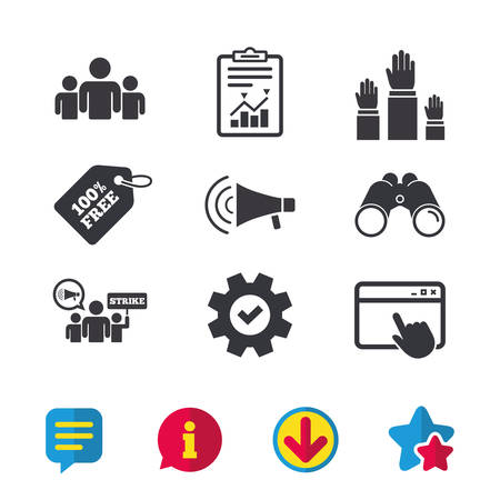 Strike group of people icon. Megaphone loudspeaker sign. Election or voting symbol. Hands raised up. Browser window, Report and Service signs. Binoculars, Information and Download icons. Vector Illustration