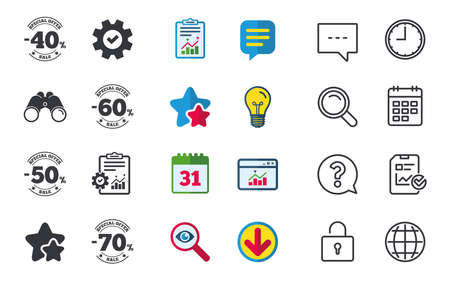 Sale discount icons. Special offer stamp price signs. 40, 50, 60 and 70 percent off reduction symbols. Chat, Report and Calendar signs. Stars, Statistics and Download icons. Question, Clock and Globe