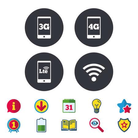 Icônes de télécommunications mobiles. Symboles technologiques 3G, 4G et LTE. Signes d'évolution Wi-fi sans fil et à long terme. Calendrier, informations et symboles de téléchargement. Étoiles, récompenses et icônes du livre. Vecteur