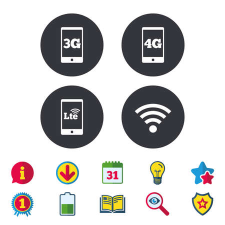 Mobile telecommunications icons. 3G, 4G and LTE technology symbols. Wi-fi Wireless and Long-Term evolution signs. Calendar, Information and Download signs. Stars, Award and Book icons. Vector