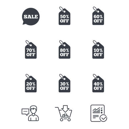 Sale discounts icons. Special offer signs. Shopping price tag symbols. Customer service, Shopping cart and Report line signs. Online shopping and Statistics. Vector Illustration