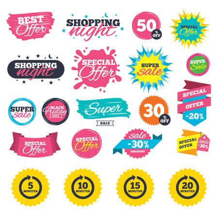 Sale shopping banners. Every 5, 10, 15 and 20 minutes icons. Full rotation arrow symbols. Iterative process signs. Web badges, splash and stickers. Best offer. Vector