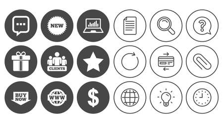 Online shopping, e-commerce and business icons. Gift box, chat message and star signs. Chart, dollar and clients symbols. Document, Globe and Clock line signs. Lamp, Magnifier and Paper clip icons Illustration