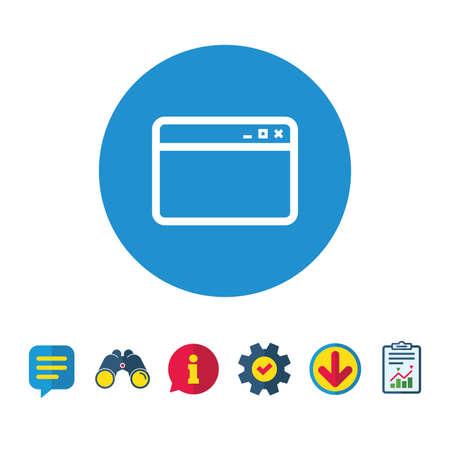 ブラウザー ウィンドウのアイコン。インター ネット ページの記号です。ウェブサイトの空のテンプレートのサイン。情報・ レポート ・音声バブル