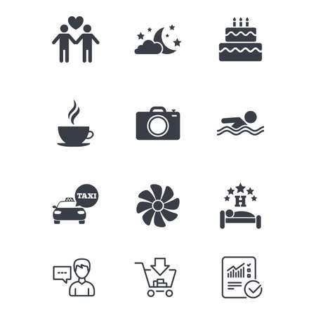 Hotel, apartment service icons. Swimming pool. Ventilation, birthday party and gay-friendly symbols. Customer service, Shopping cart and Report line signs. Online shopping and Statistics. Vector