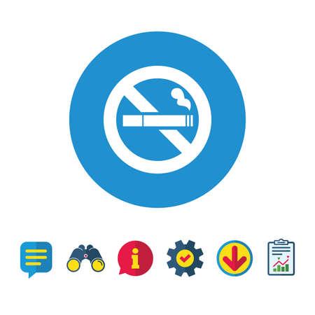 금연 기호 아이콘입니다. 담배 기호입니다. 정보,보고 및 연설 거품 신호. 쌍안경, 서비스 및 다운로드 아이콘. 벡터
