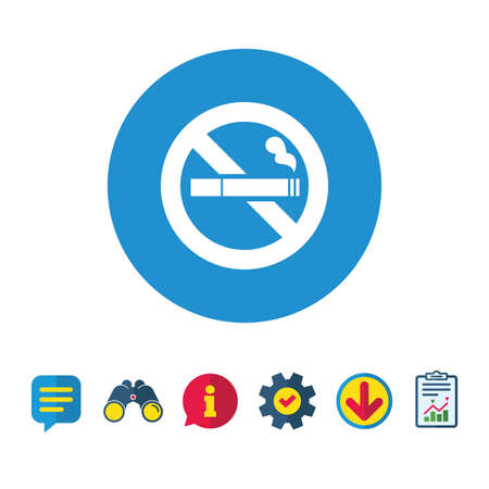 Niet roken teken pictogram. Sigaret symbool. Informatie-, rapport- en tekstballonborden. Verrekijker, service en download pictogrammen. Vector