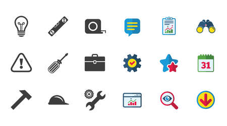 Repair, construction icons. Engineering, helmet and screwdriver signs. Lamp, electricity and attention symbols. Calendar, Report and Download signs. Stars, Service and Search icons. Vector