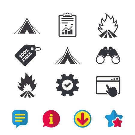 Tourist camping tent icons such as fire flame sign symbols, browser, report and service signs, binoculars, information and download icons, stars and chat vector. Illusztráció