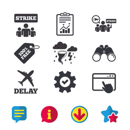 Strike icon. Storm bad weather and group of people signs. Delayed flight symbol. Browser window, Report and Service signs. Binoculars, Information and Download icons. Stars and Chat. Vector Illustration