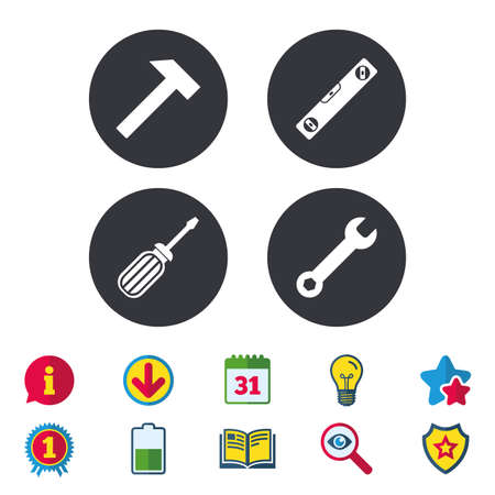 Screwdriver and wrench key tool icons. Bubble level and hammer sign symbols. Calendar, Information and Download signs. Stars, Award and Book icons. Light bulb, Shield and Search. Vector