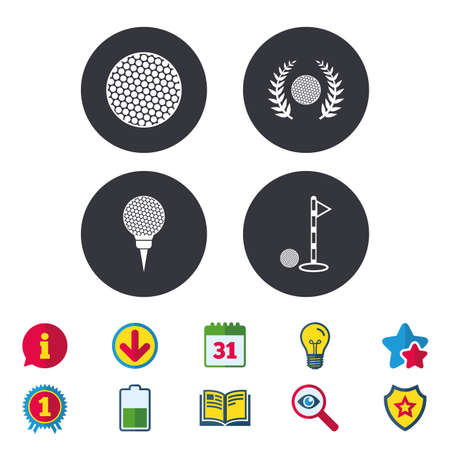 Golf ball icons. Laurel wreath winner award sign. Luxury sport symbol. Calendar, Information and Download signs. Stars, Award and Book icons. Light bulb, Shield and Search. Vector Illustration