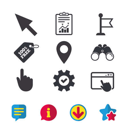 Mouse cursor icon. Hand or Flag pointer symbols. Map location marker sign. Browser window, Report and Service signs. Binoculars, Information and Download icons. Stars and Chat. Vector Illustration