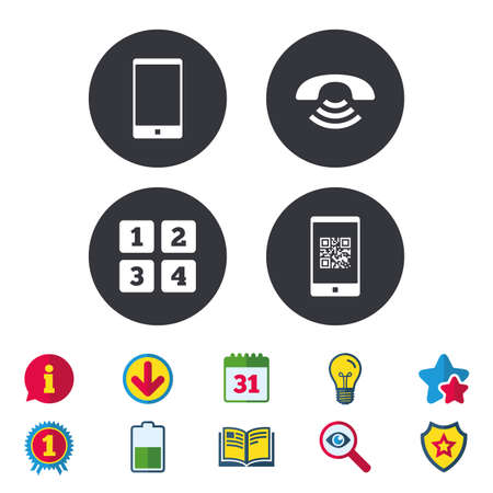 Phone icons. Smartphone with Qr code sign. Call center support symbol. Cellphone keyboard symbol. Calendar, Information and Download signs. Stars, Award and Book icons. Light bulb, Shield and Search