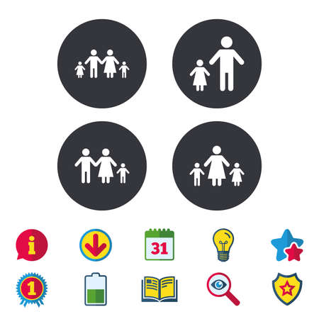 Family with two children icon. Parents and kids symbols. One-parent family signs. Mother and father divorce. Calendar, Information and Download signs. Stars, Award and Book icons. Vector