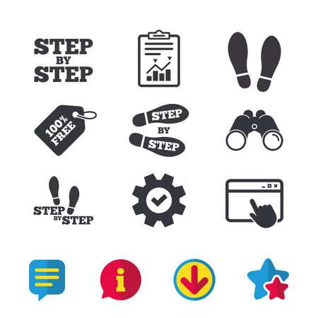 Stap voor stap pictogrammen. Voetafdruk schoenen symbolen. Instructiegids concept. Browservenster, rapport en serviceborden. Verrekijker, informatie en download pictogrammen. Sterren en chatten. Vector