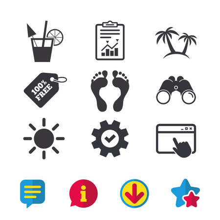 Beach holidays icons. Cocktail, human footprints and palm trees signs. Summer sun symbol. Browser window, Report and Service signs. Binoculars, Information and Download icons. Stars and Chat. Vector 向量圖像
