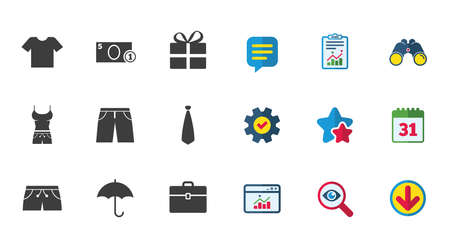 Clothing, accessories icons. T-shirt, business case signs. Umbrella and gift box symbols. Calendar, Report and Download signs. Stars, Service and Search icons. Statistics, Binoculars and Chat. Vector Ilustração