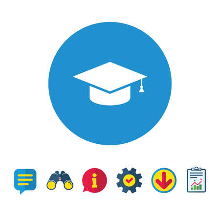Graduation cap sign icon. Higher education symbol. Information, Report and Speech bubble signs. Binoculars, Service and Download icons. Vector Ilustração