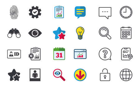 Identity ID card badge icons. Eye and fingerprint symbols. Authentication signs. Photo frame with human person. Chat, Report and Calendar signs. Stars, Statistics and Download icons. Vector Illustration