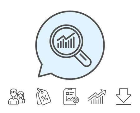 グラフの線のアイコン。レポート グラフまたは虫眼鏡で売上成長のサインです。分析と統計データのシンボル。レポート、販売クーポン、グラフ線