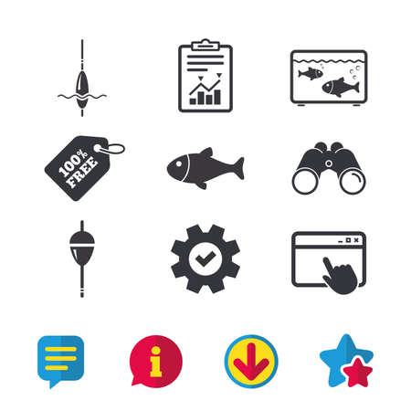 Fishing icons. Fish with fishermen hook sign. Float bobber symbol. Aquarium icon. Browser window, Report and Service signs. Binoculars, Information and Download icons. Stars and Chat. Vector