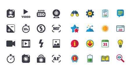 Set von Foto- und Videosymbolen. Kamera, Timer und Rahmenzeichen. Kein Blitz und Autofokus-Symbole. Kalender, Bericht und Browser-Fenster-Zeichen. Sterne, Service und Download-Symbole. Vektor Standard-Bild - 82829323