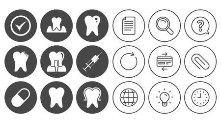 Tooth, dental care icons. Stomatology, syringe and implant signs. Healthy teeth, caries and pills symbols. Document, Globe and Clock line signs. Lamp, Magnifier and Paper clip icons. Vector