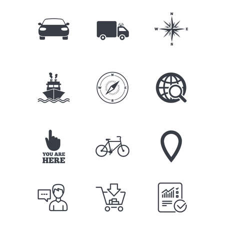 Navigation, gps icons. Windrose, compass and map pointer signs. Bicycle, ship and car symbols. Customer service, Shopping cart and Report line signs. Online shopping and Statistics. Vector