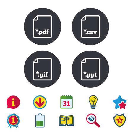 Download document icons. File extensions symbols. PDF, GIF, CSV and PPT presentation signs. Calendar, Information and Download signs. Stars, Award and Book icons. Light bulb, Shield and Search. Vector