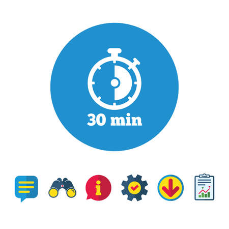 Timer sign icon. 30 minutes stopwatch symbol. Information, Report and Speech bubble signs. Binoculars, Service and Download icons. Vector 版權商用圖片 - 82830279