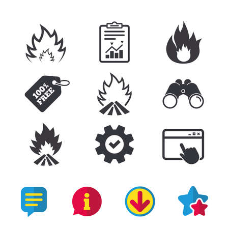 Fire flame icons. Heat symbols. Inflammable signs. Browser window, Report and Service signs. Binoculars, Information and Download icons. Stars and Chat. Vector Banco de Imagens - 82828433