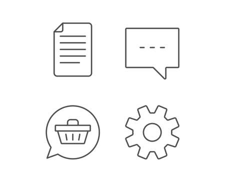 Document file, Chat and Service line icons. Shopping cart in Speech bubble sign. Quality design elements. Editable stroke. Vector Ilustracja