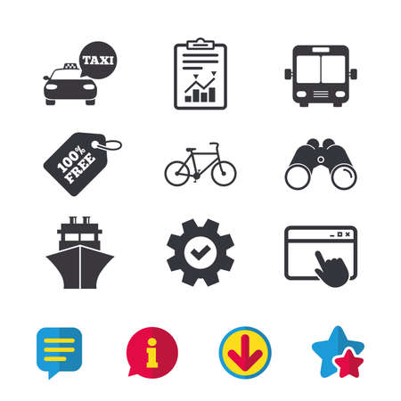 Transport icons. Taxi car, Bicycle, Public bus and Ship signs. Shipping delivery symbol. Speech bubble sign. Browser window, Report and Service signs. Binoculars, Information and Download icons