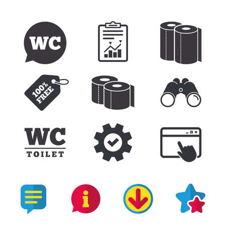 Toilet paper icons. Gents and ladies room signs. Paper towel or kitchen roll. Speech bubble symbol. Browser window, Report and Service signs. Binoculars, Information and Download icons. Stars and Chat