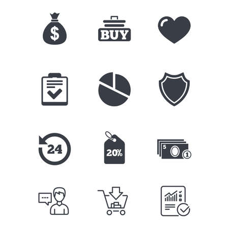 Online shopping, e-commerce and business icons. Checklist, like and pie chart signs. Money bag, discount and protection symbols. Customer service, Shopping cart and Report line signs. Vector Illustration