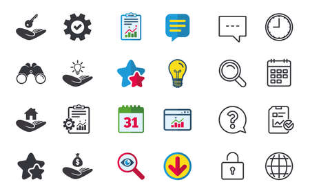 patent key: Helping hands icons. Financial money savings insurance symbol. Home house or real estate and lamp, key signs. Chat, Report and Calendar signs. Stars, Statistics and Download icons. Vector Illustration