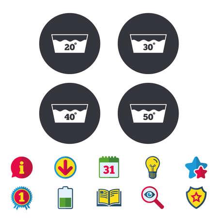 Pictogrammen wassen. Machinewasbaar op 20, 30, 40 en 50 graden symbolen. Wasserij washhouse borden. Kalender, informatie en downloadborden. Pictogrammen voor sterren, awards en boeken. Gloeilamp, schild en zoeken. Vector Stock Illustratie