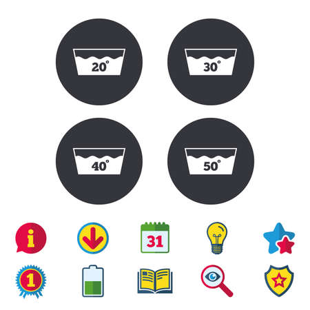 Wash icons. Machine washable at 20, 30, 40 and 50 degrees symbols. Laundry washhouse signs. Calendar, Information and Download signs. Stars, Award and Book icons. Light bulb, Shield and Search. Vector 向量圖像