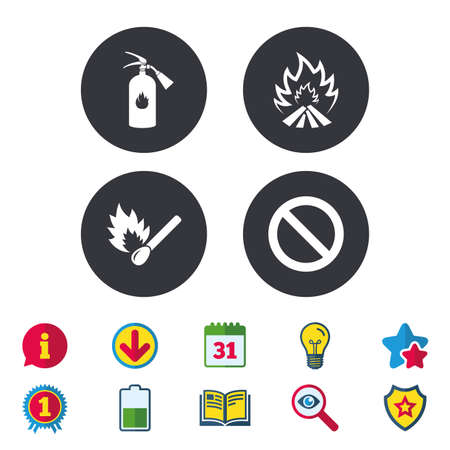 Fire flame icons. Fire extinguisher sign. Prohibition stop symbol. Burning matchstick. Calendar, Information and Download signs. Stars, Award and Book icons. Light bulb, Shield and Search. Vector Illustration