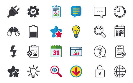 Electric plug icon. Light lamp and battery half symbols. Low electricity and idea signs. Chat, Report and Calendar signs. Stars, Statistics and Download icons. Question, Clock and Globe. Vector Фото со стока - 82830283