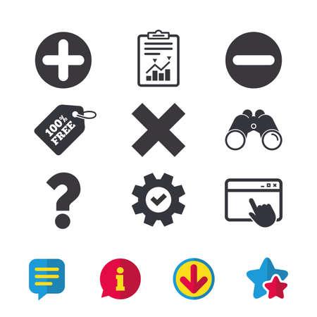 プラスとマイナスのアイコン。削除し、FAQ のマークの標識を質問します。ズーム記号を拡大します。ブラウザー ウィンドウ、レポートとサービスの  イラスト・ベクター素材