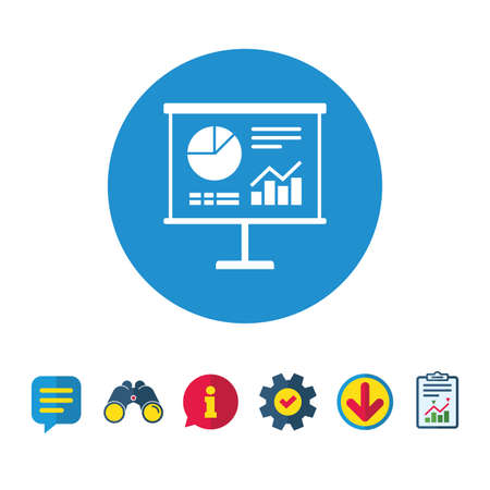 Presentation billboard sign icon. Scheme and Diagram symbol. Information, Report and Speech bubble signs. Binoculars, Service and Download icons. Vector