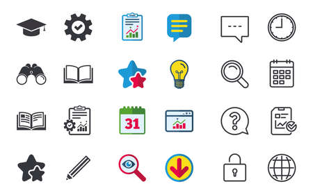 Pencil and open book icons. Graduation cap symbol. Higher education learn signs. Chat, Report and Calendar signs. Stars, Statistics and Download icons. Question, Clock and Globe. Vector 向量圖像