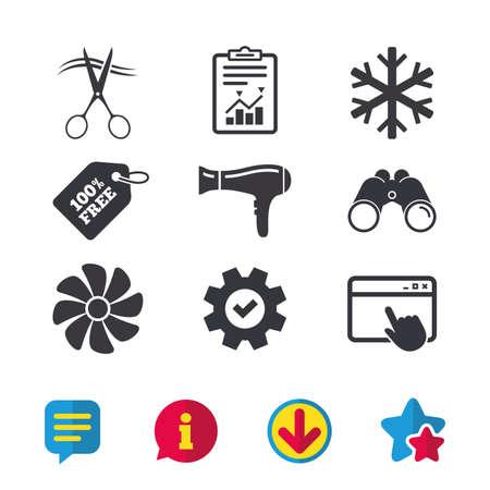 Iconos de servicios del hotel. Aire acondicionado, secador de pelo y ventilación en las señales de la habitación. Control climatico. Peluquería o símbolo de barbería. Ventana del navegador, signos de Informe y Servicio. Vector Foto de archivo - 82829398