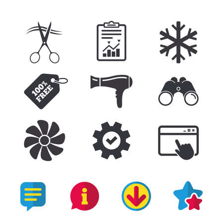 Hotel services icons. Air conditioning, Hairdryer and Ventilation in room signs. Climate control. Hairdresser or barbershop symbol. Browser window, Report and Service signs. Vector